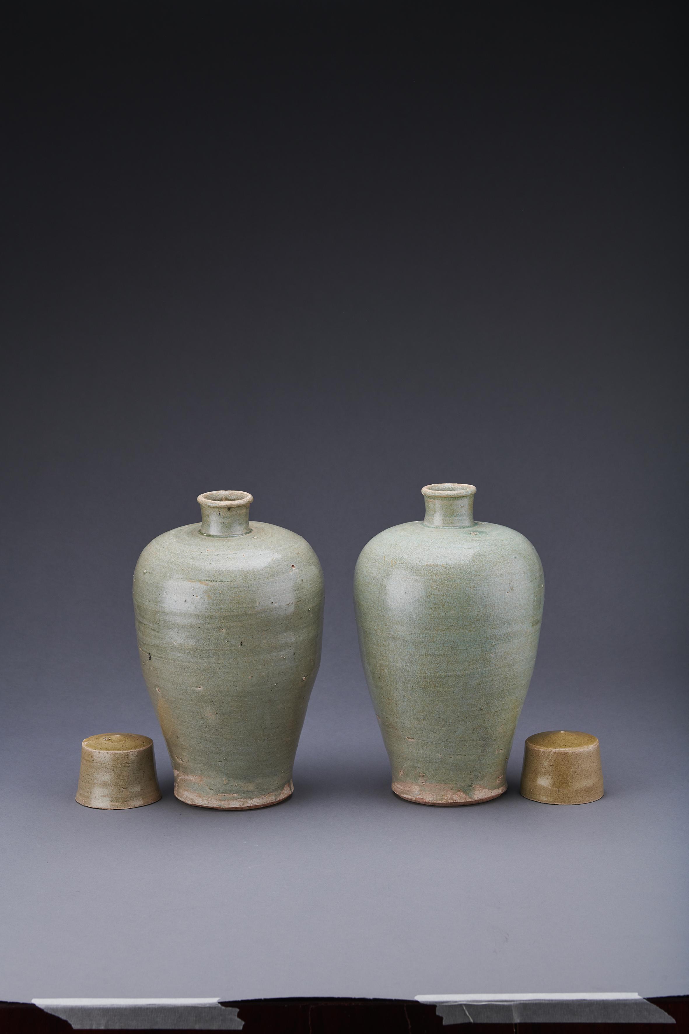 青瓷帶蓋梅瓶1對4件。(國家文物局供圖)