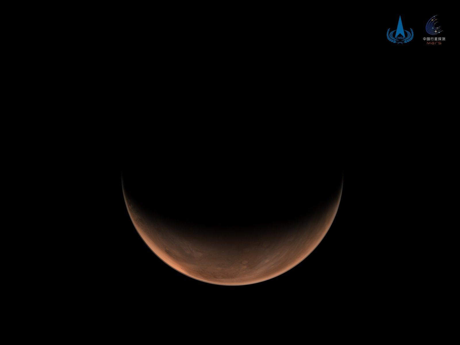 國家航天局發布天問一號拍攝火星側身影像