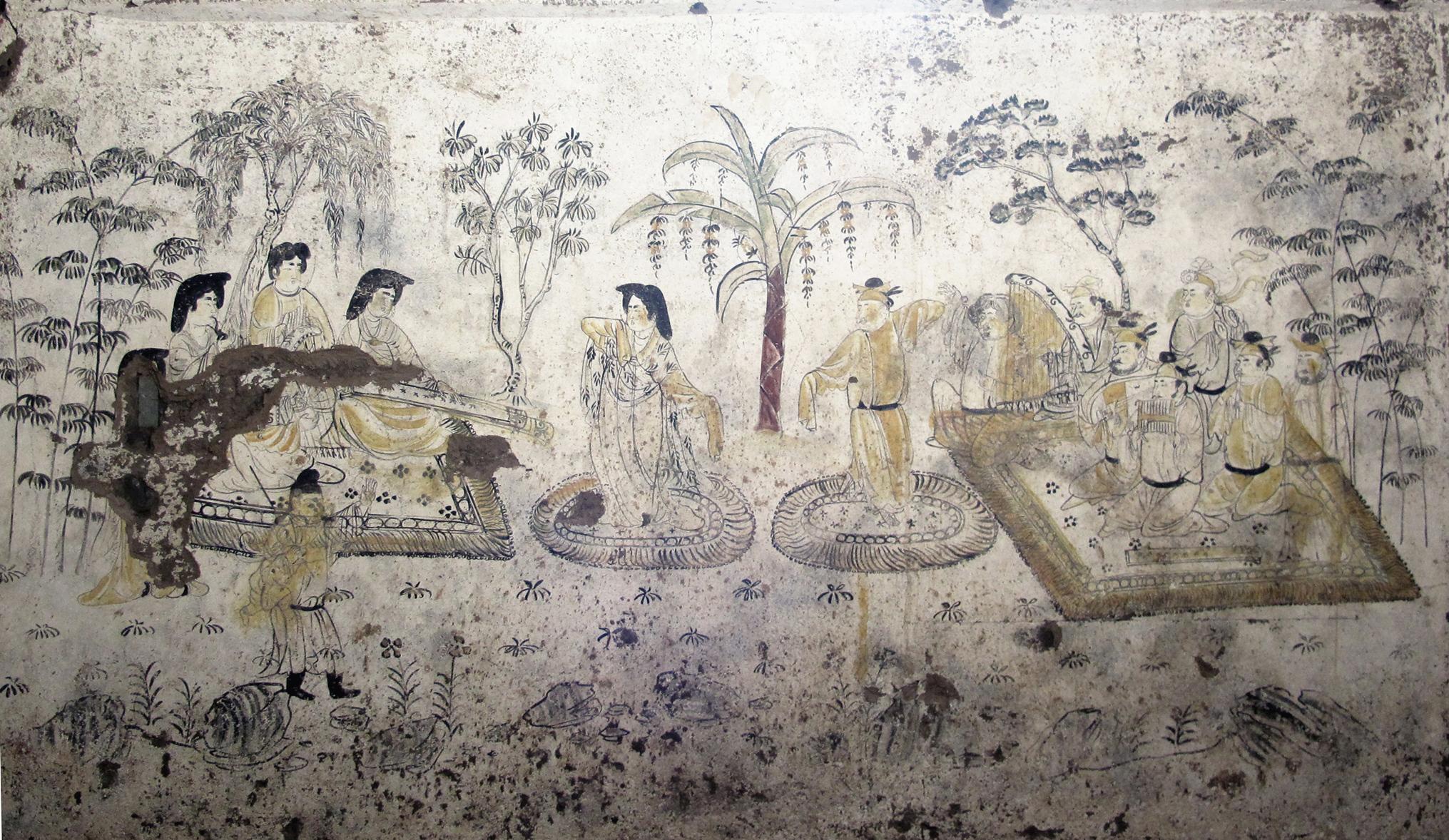 唐韓休墓出土《樂舞圖》。(記者李陽波攝)