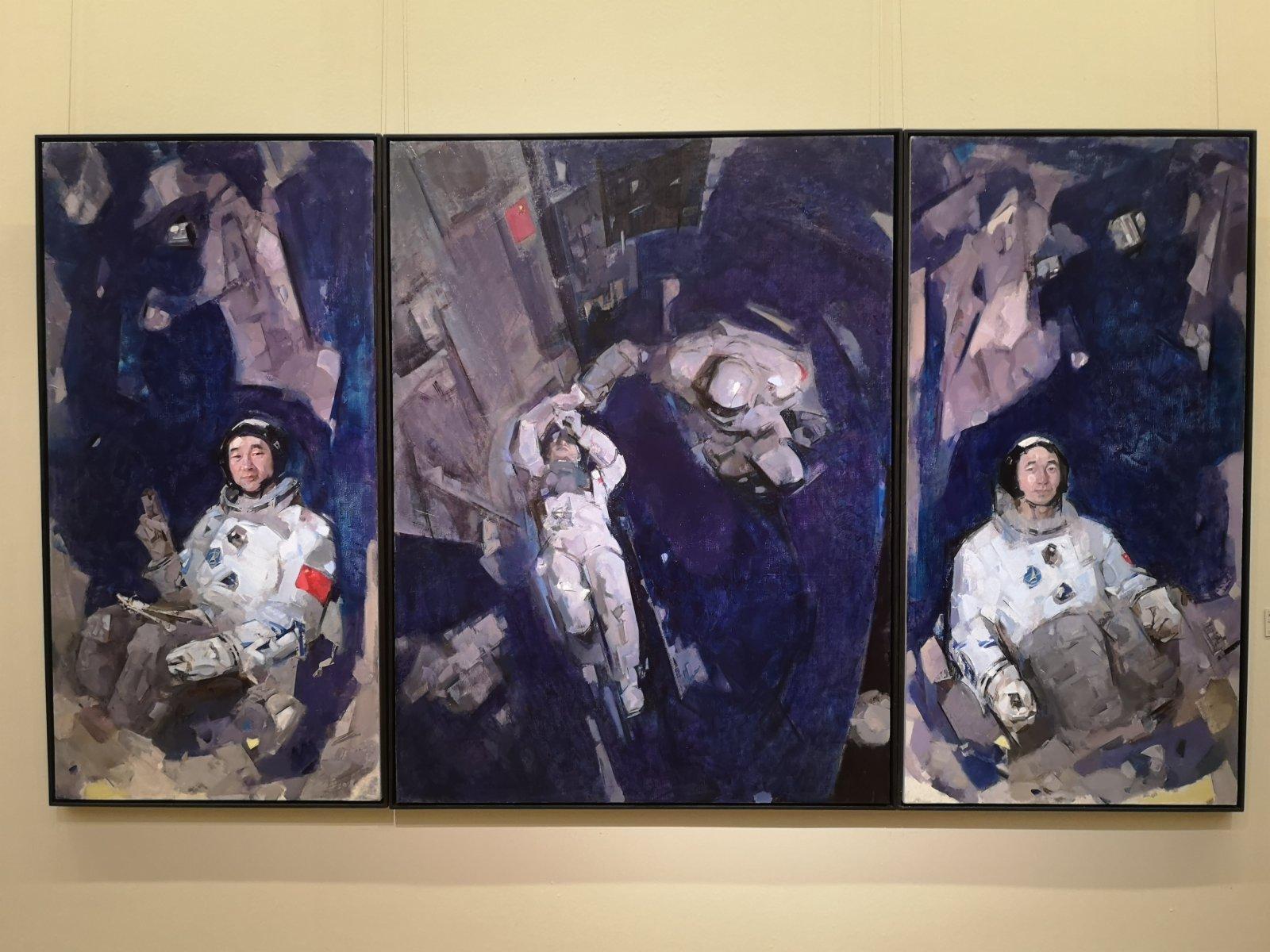 孔平油畫作品《太空的足跡》。記者張寶峰攝