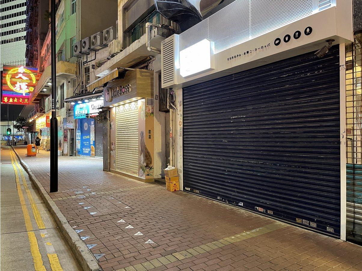 銅鑼灣很多商家都已閉店,不再營業。(大公文匯全媒體記者 攝)