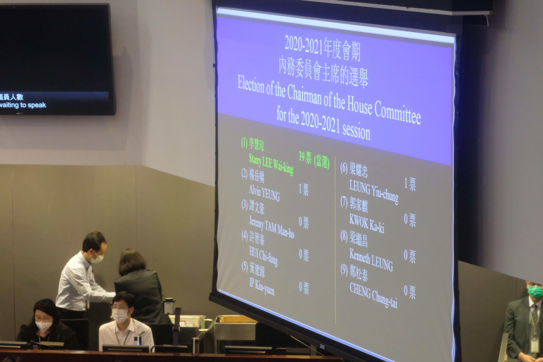 選舉結果公布,民建聯立法會議員李慧琼當選內委會主席。大公文匯全媒體記者 攝