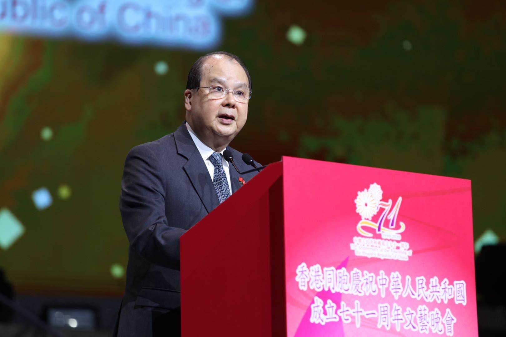 香港特別行政區署理行政長官張建宗致辭。(大公文匯全媒體記者攝)