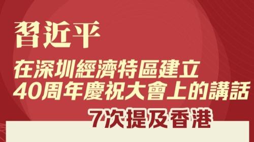 深圳特區40年 習近平重要講話7次提及香港