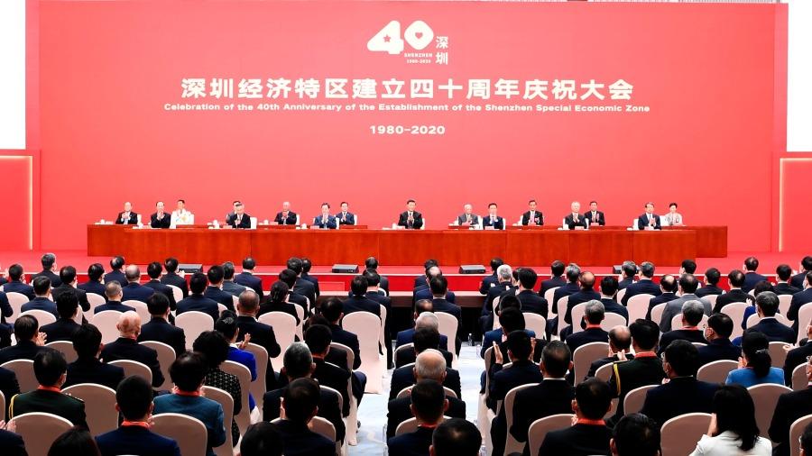 10月14日,深圳經濟特區建立40周年慶祝大會在廣東省深圳市隆重舉行。中共中央總書記、國家主席、中央軍委主席習近平在會上發表重要講話。
