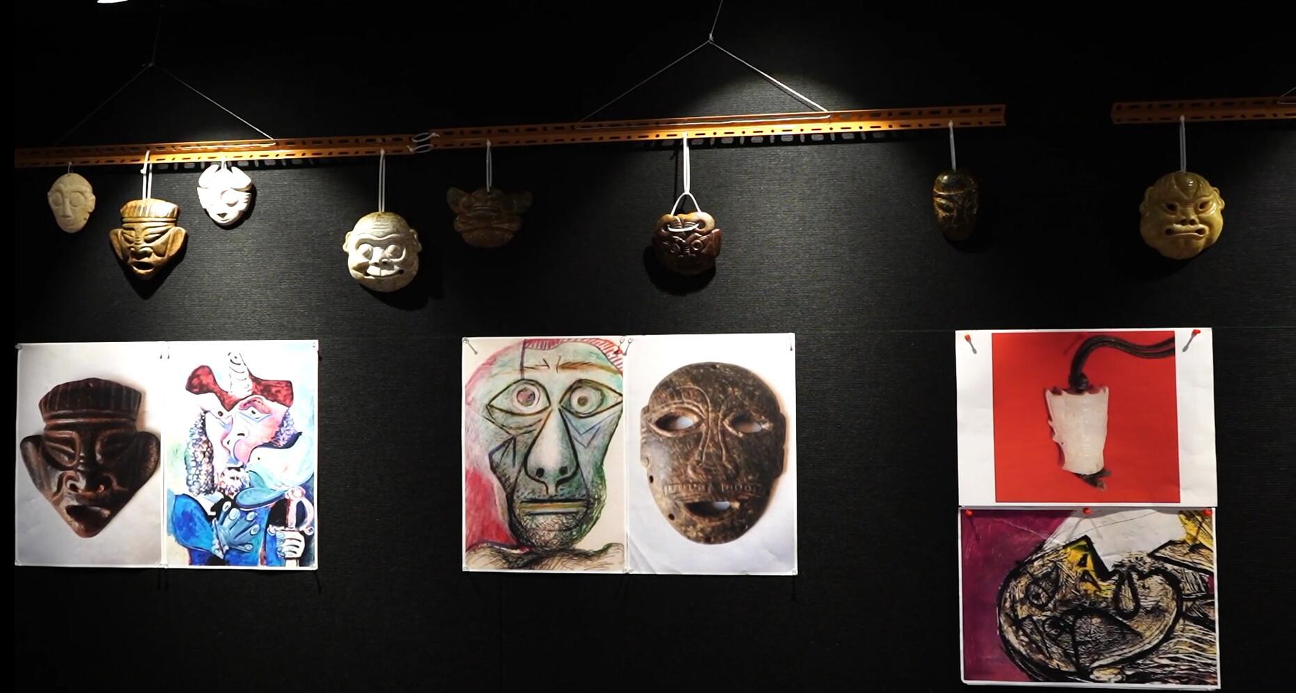 10月28日到11月2日期間,中國光彩事業基金會將於香港文化中心舉辦「史前面具文化展覽 」,展覽由本港資深收藏家蕭聖寬策展,展出共計超過五十餘件約5000年到7000年前的隕石和瑪瑙面具,以及數件與主題相關的藝術作品。(記者張夢薇攝)