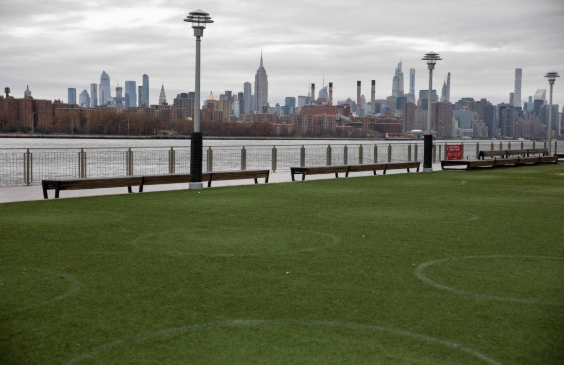 11月12日,在美國紐約多米諾公園,草坪上保持社交距離的圓圈清晰可見。(新華社)