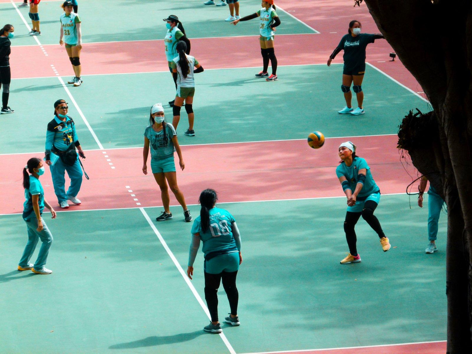 11月15日,外傭在旺角花墟大球場打排球比賽。(中新社)