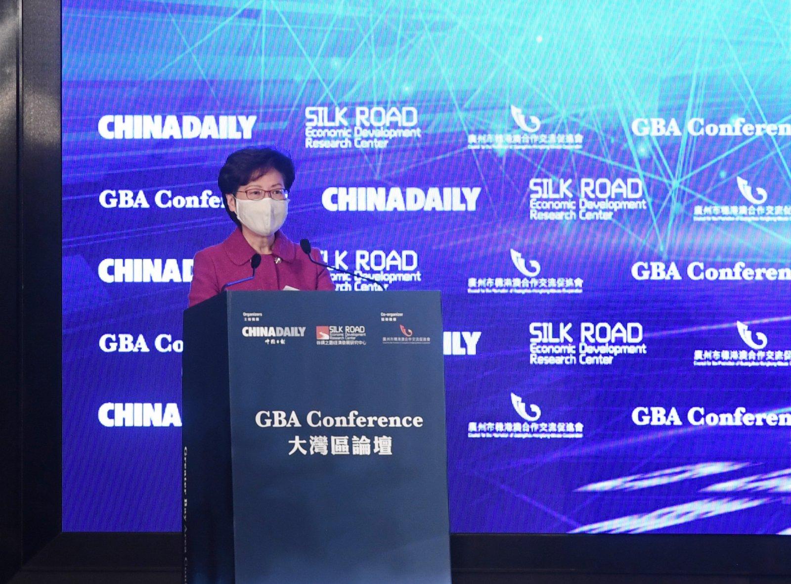 香港特別行政區行政長官林鄭月娥作主旨演講。(大公報記者 攝)