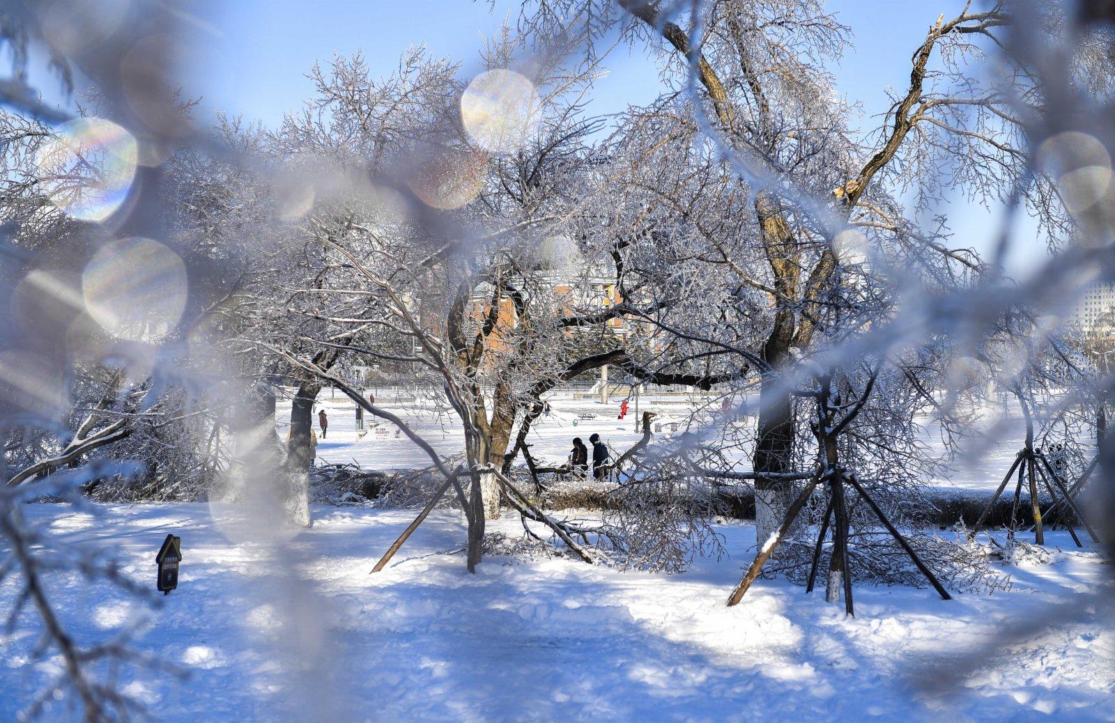 市民行走在雪後的長春市文化廣場。