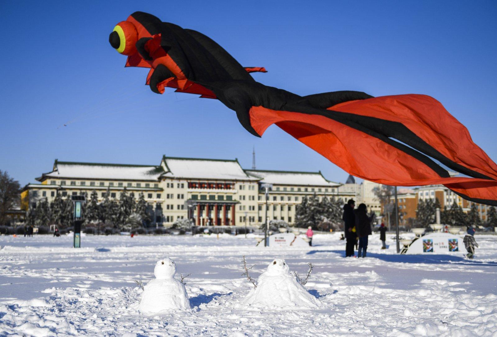 11月20日在長春市文化廣場拍攝的雪地中的兩個雪人.