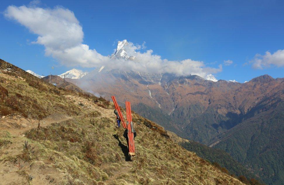 11月11日,幾名搬運建築材料的挑夫走在尼泊爾安納布爾納地區。人力搬運是山區運輸物資的重要途徑之一。(新華社)