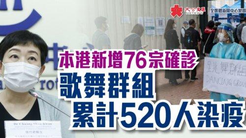 香港新增76宗確診 歌舞群組累計520人染疫