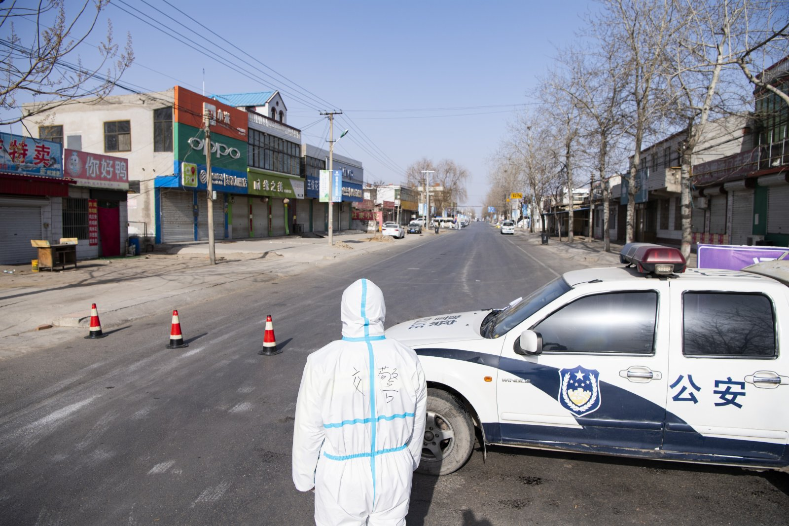 距離小果莊村村口約100米的一處防控檢查點。中新社