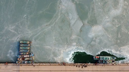 天津:冰封漁碼頭