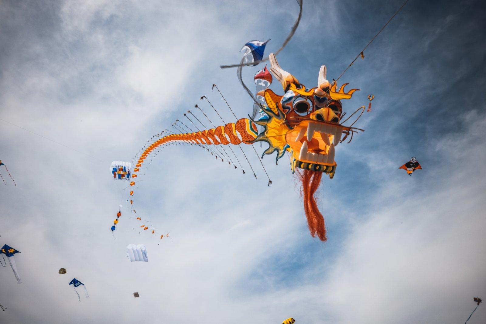 這是2月6日在新西蘭惠靈頓北部小鎮奧塔基海灘上拍攝的龍形風箏。該風箏由惠靈頓中國文化中心推出。