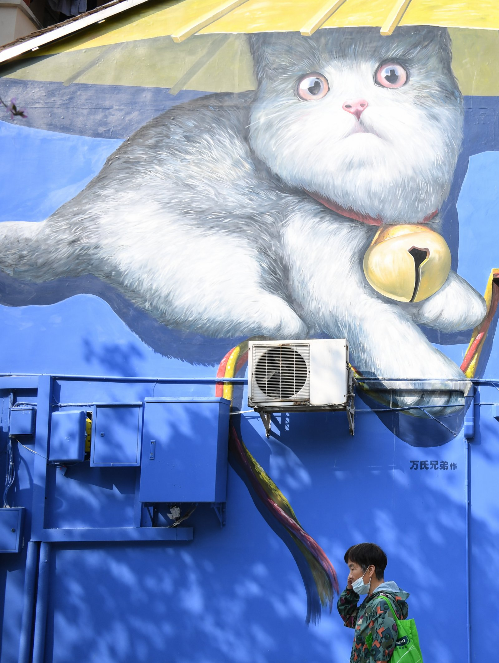 2月23日,市民在廣州越秀區府學西街的一處塗鴉牆拍照留念。(新華社)