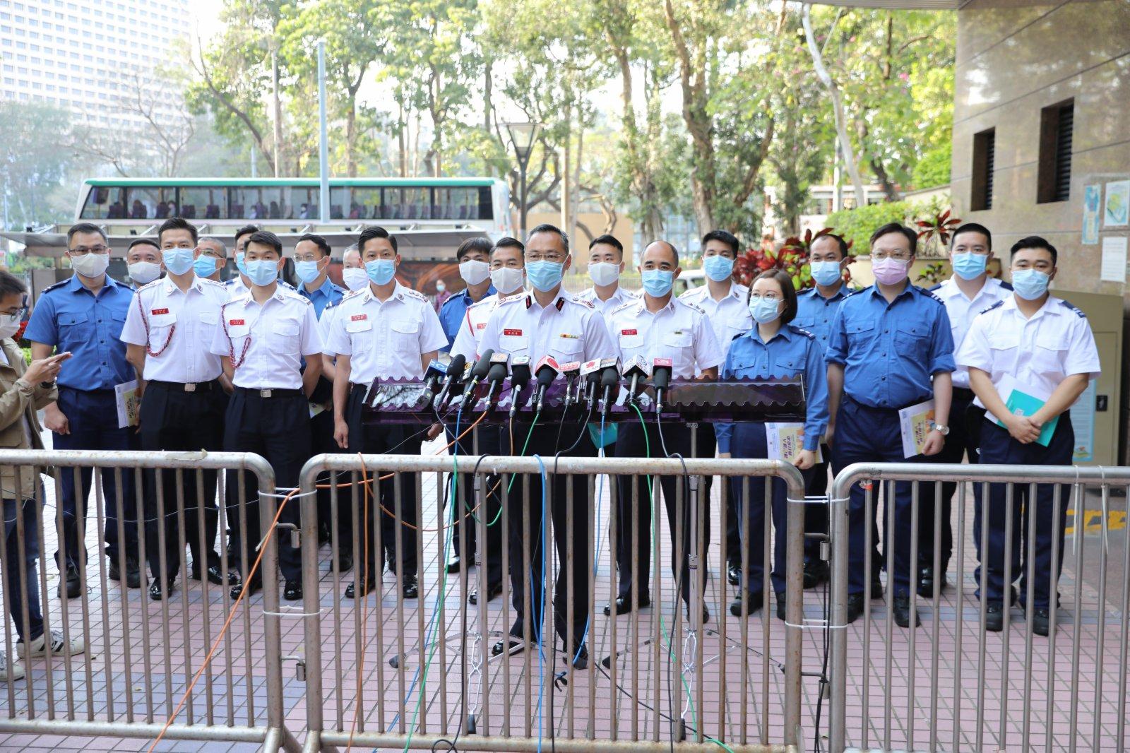 消防處處長梁偉雄帶領20位同事接種疫苗。大公文匯全媒體記者李斯哲 攝