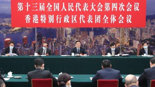 韓正分別參加香港代表團、澳門代表團審議