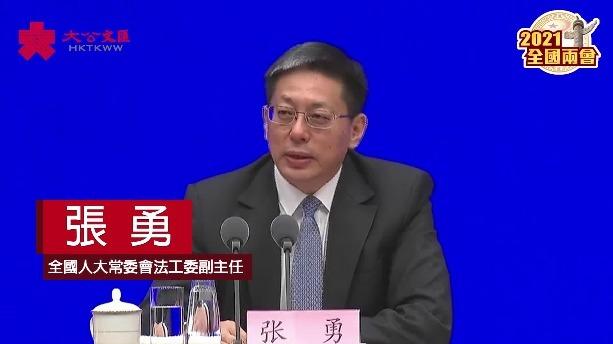 張勇:全國人大決定具有堅實的憲制基礎