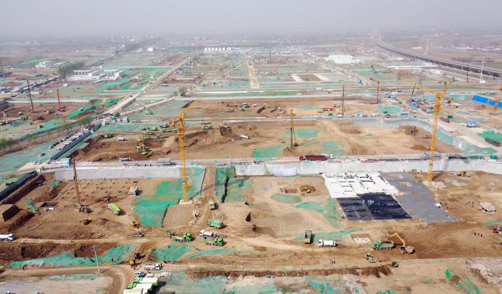 圖為3月30日,航拍雄安新區容西片區建設現場。 中新社