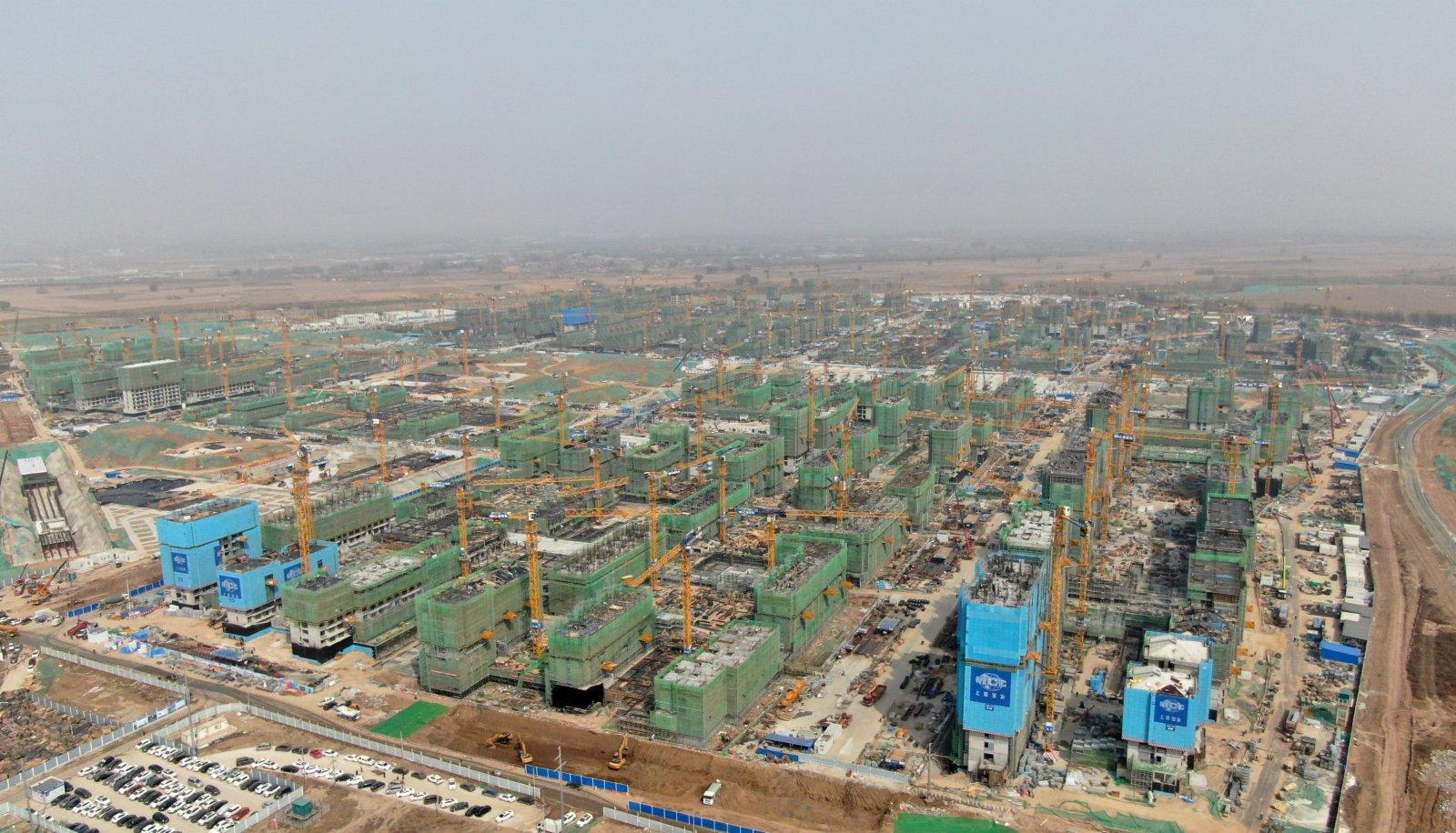 圖為3月31日,航拍雄安新區雄東片區建設現場。 中新社