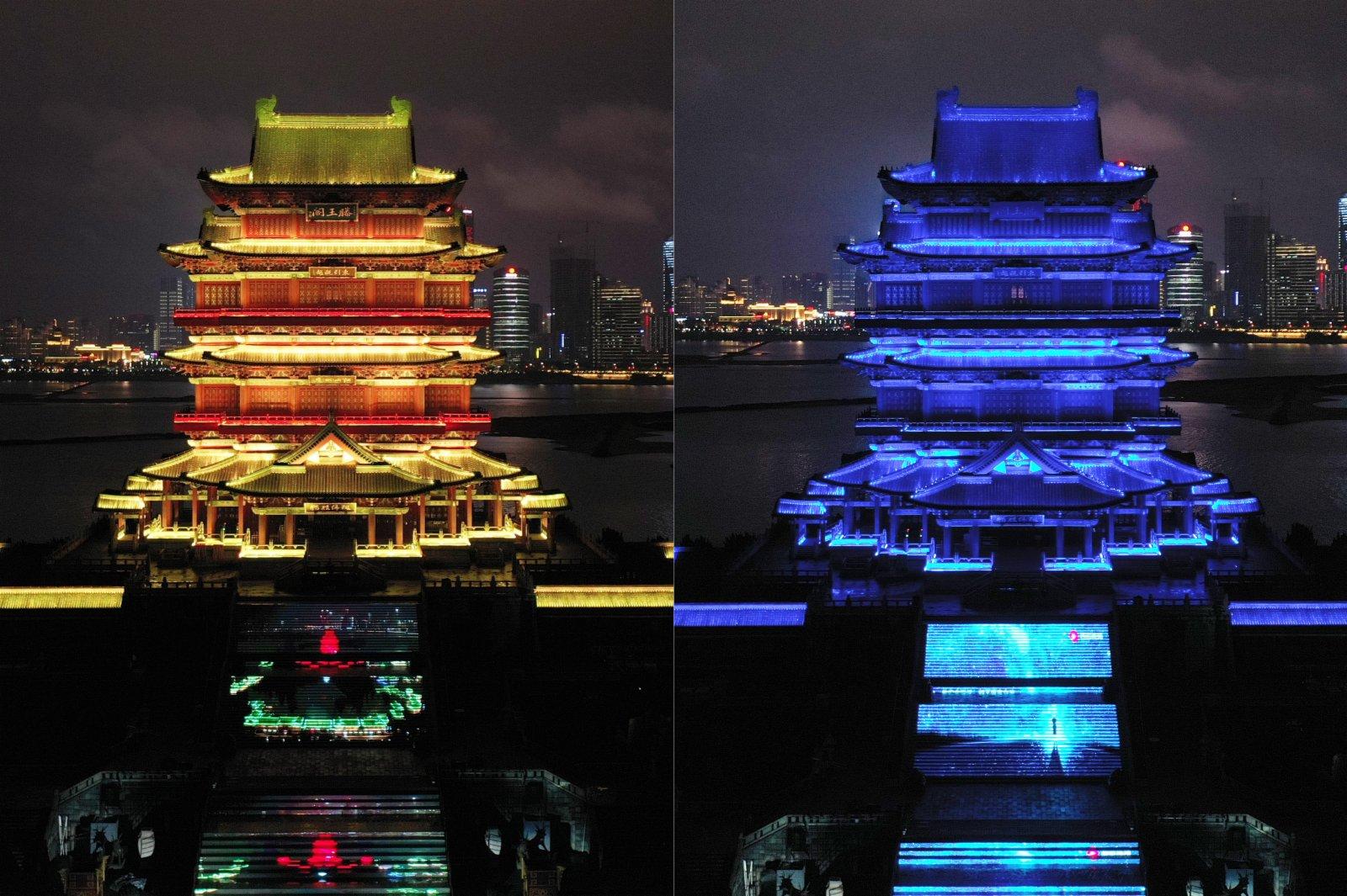 圖為江南名樓滕王閣「點亮藍燈」前後畫面。(拼版圖片) 中新社
