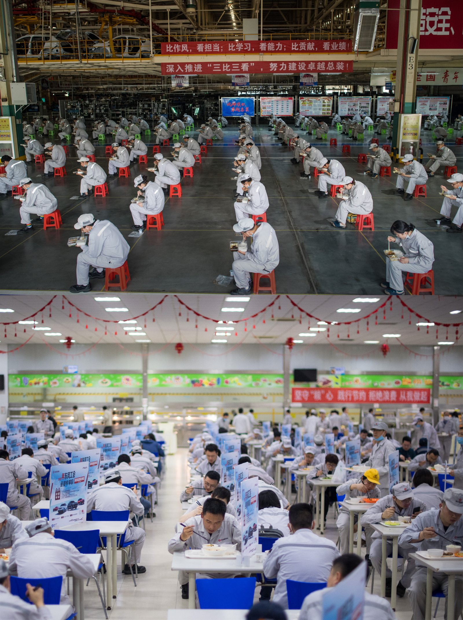 這是一張拚版照片,上圖為:2020年3月24日,在武漢市東風乘用車公司工廠總裝車間,工人們保持兩米的距離吃午飯;下圖為:2021年3月30日,工人們在武漢市東風乘用車公司食堂吃午飯。(新華社)