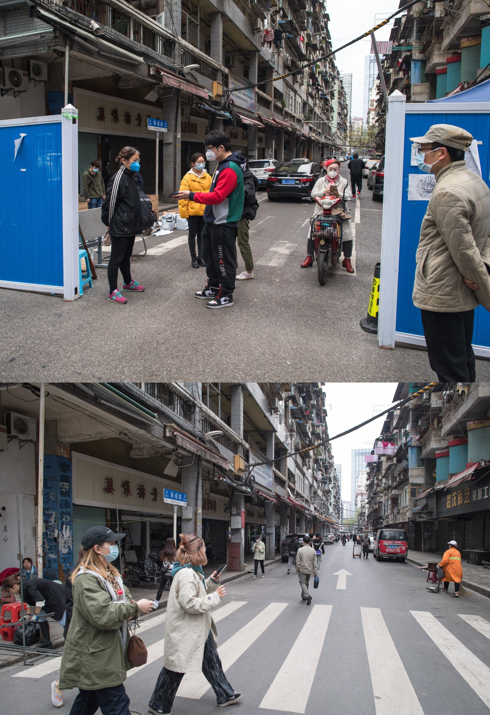 這是一張拼版照片,上圖為:2020年4月1日,在武漢市保成路街道一處卡口,市民掃健康碼通行;下圖為:2021年4月4日拍攝的武漢市保成路街道。(新華社)