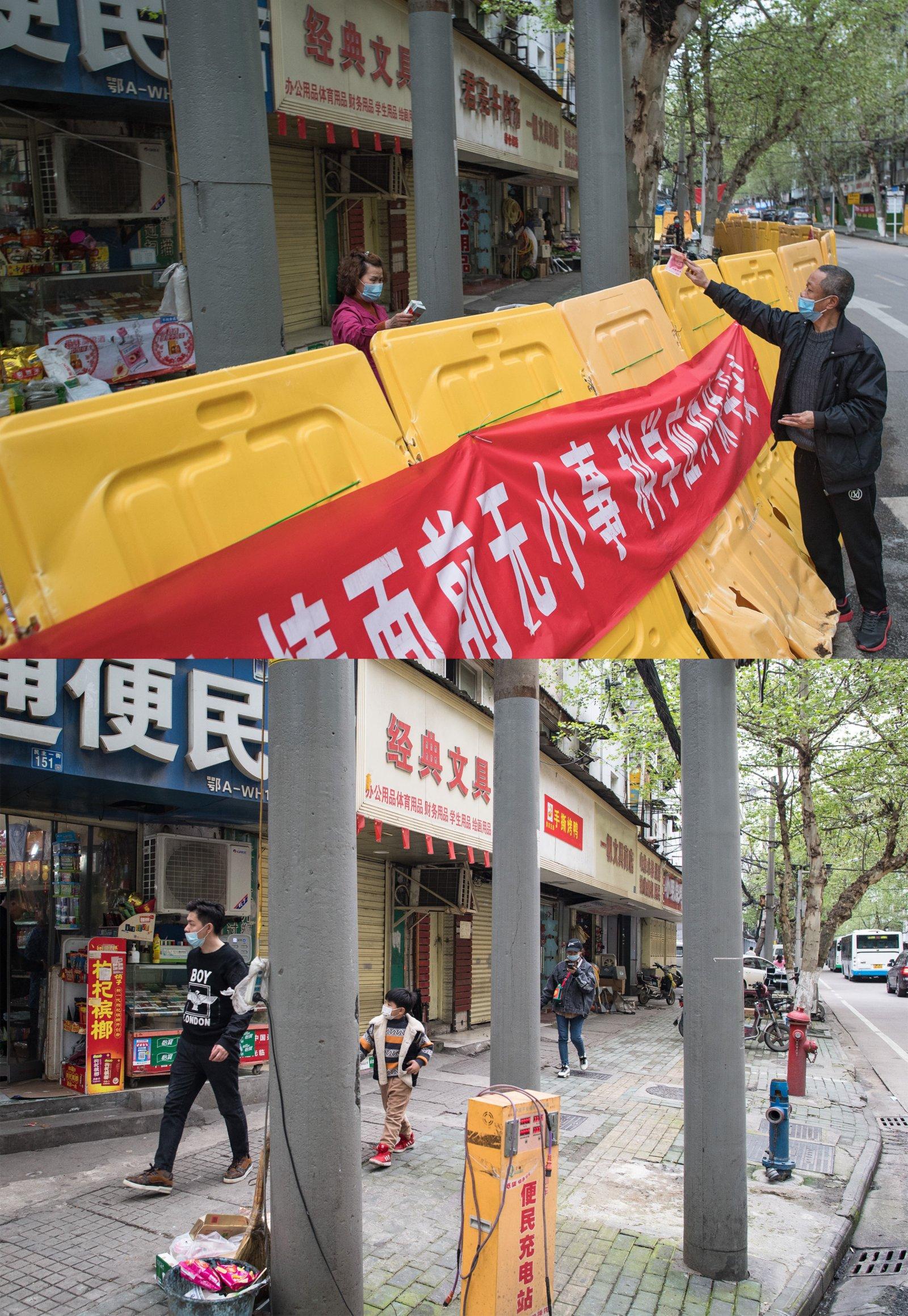 這是一張拼版照片,上圖為:2020年4月1日拍攝的武漢市江漢區民主一街街道;下圖為:2021年4月4日拍攝的武漢市江漢區民主一街街道。(新華社)