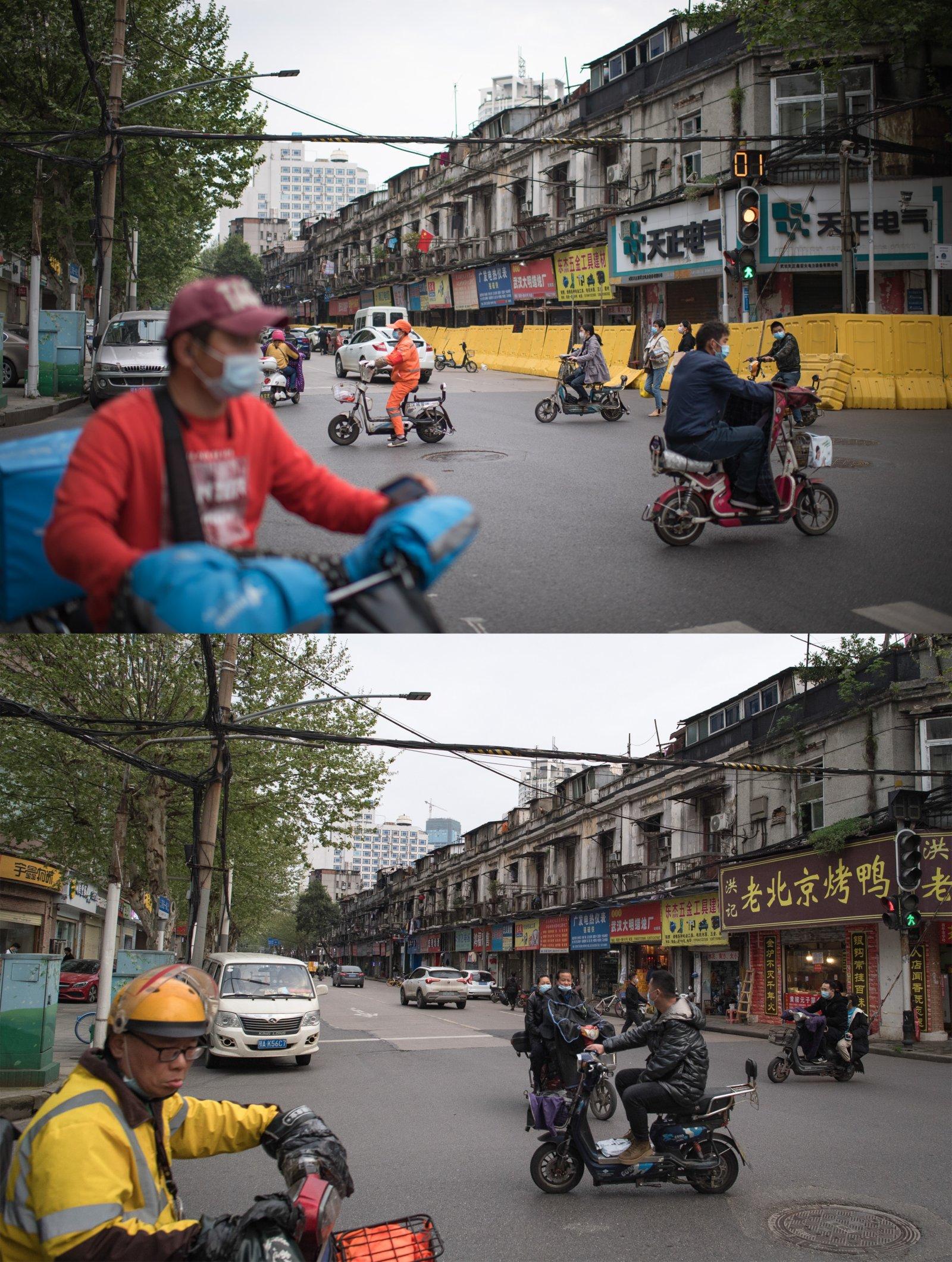 這是一張拚版照片,上圖為:2020年4月16日拍攝的武漢市江漢區民主一街與前進一路路口;下圖為:2021年4月4日拍攝的武漢市江漢區民主一街與前進一路路口。(新華社)