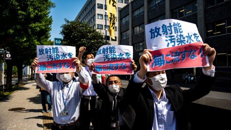 日本民眾首相辦公室前集會 反對將福島核污水排入大海