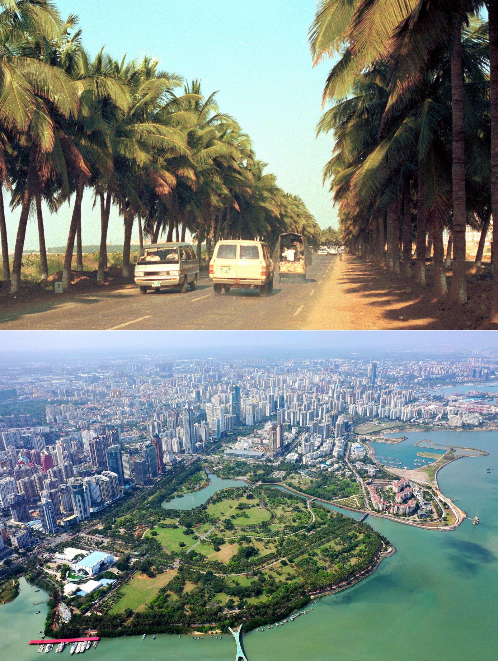 上圖為海口市濱海大道(1990年1月10日攝);下圖為海口市濱海大道兩側街景(2021年3月18日攝,無人機照片)。新華社