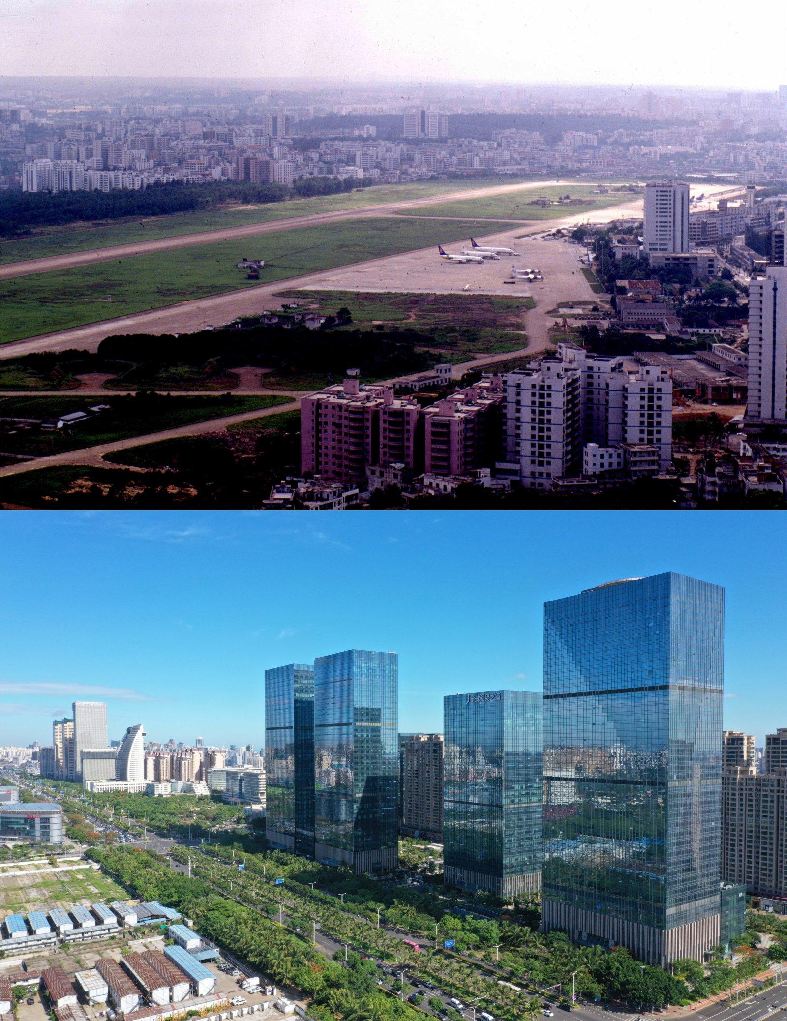 海口市國興大道,曾經是海口大英山機場(上圖為1999年5月攝,下圖為2020年6月18日攝)。新華社