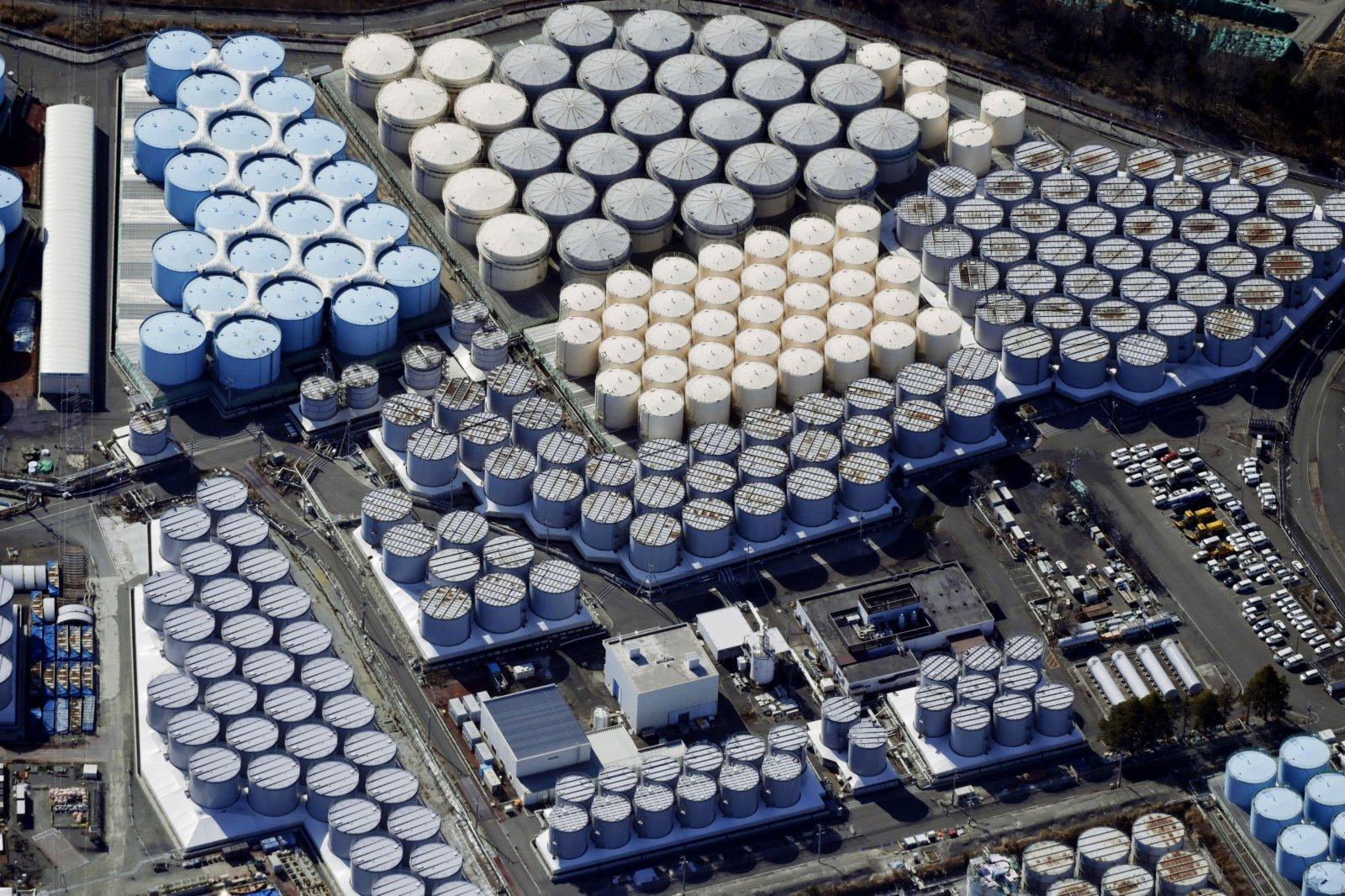 日本福島第一核電站核污水儲水罐(新華社)