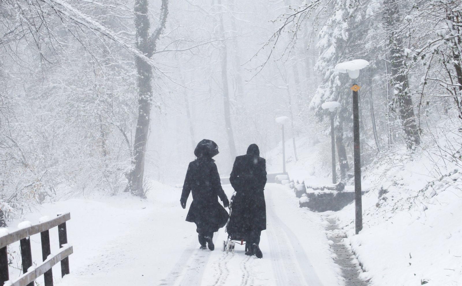 圖為人們穿過白雪覆蓋的森林。(路透社)