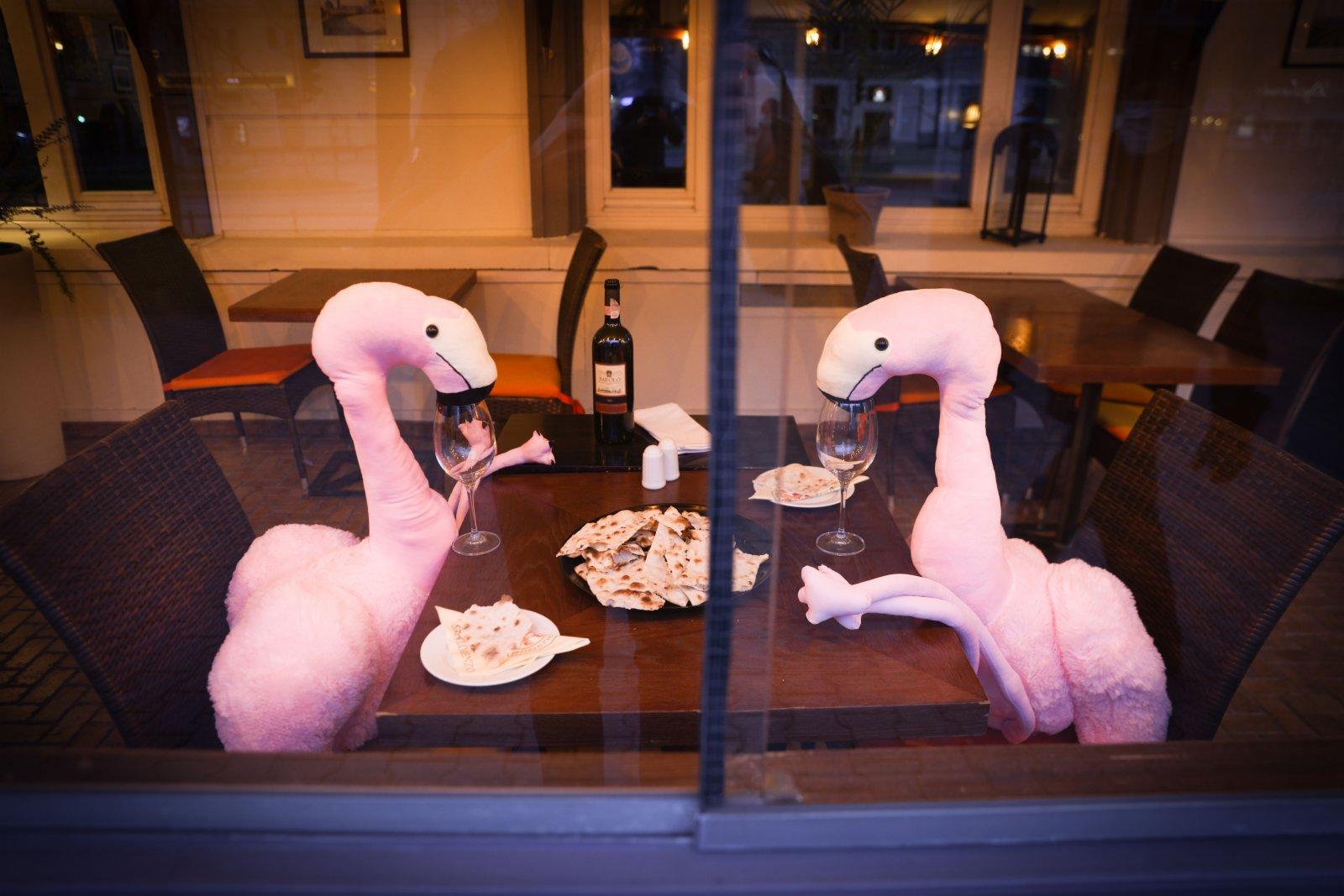 4月13日,波蘭首都華沙一家餐館將動物玩偶擺放在靠窗座位上吸引顧客。(新華社)