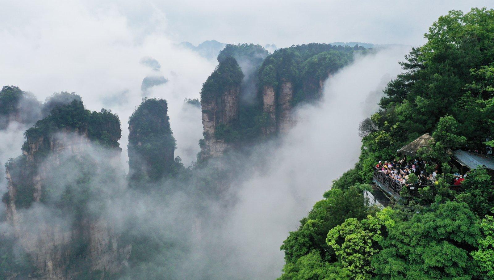 5月14日,遊人在張家界武陵源景區欣賞峰林雲海美景。