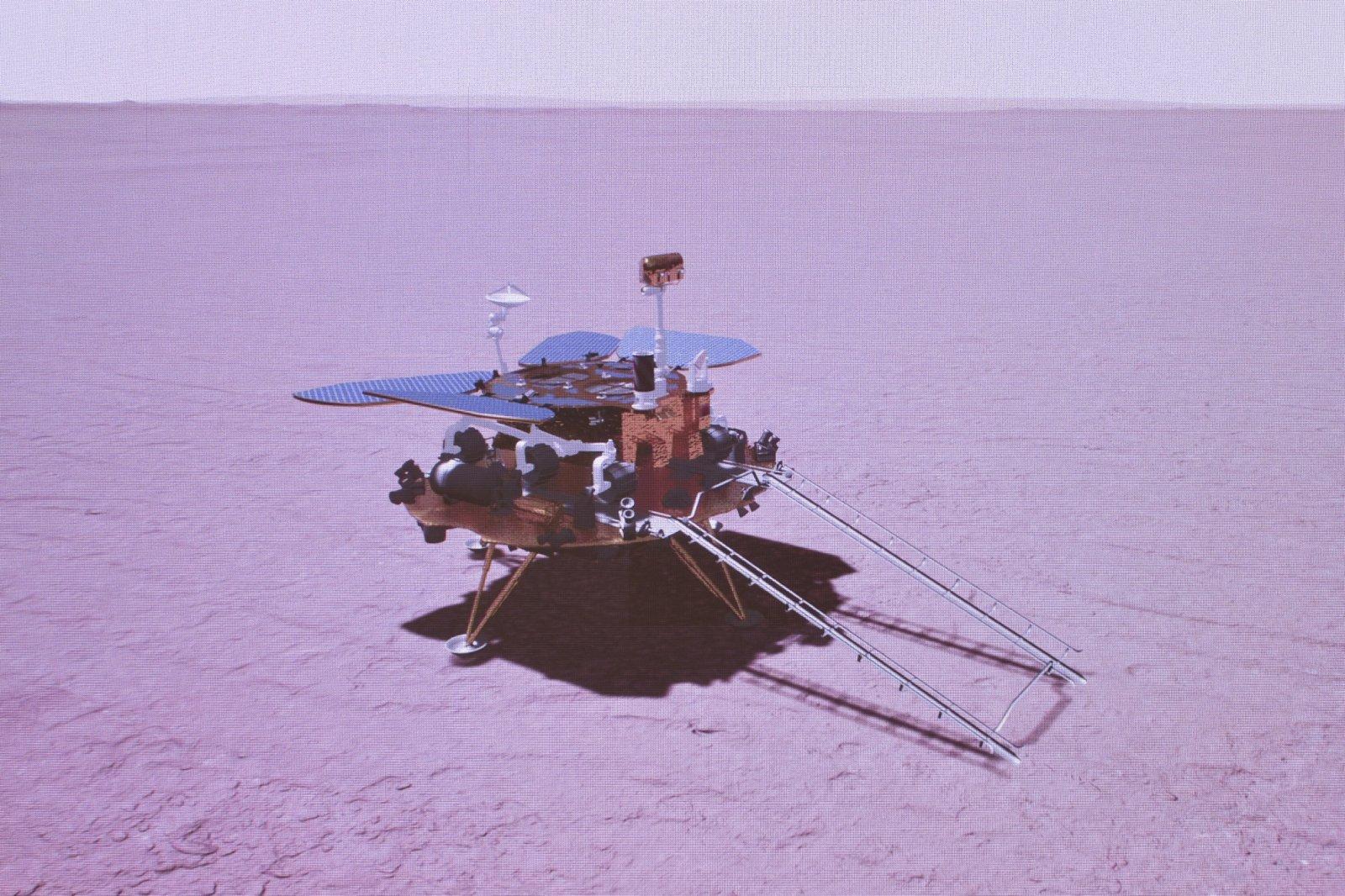 火星探測器着陸火星表面模擬圖。新華社
