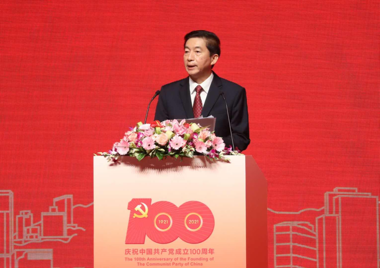 「中國共產黨與『一國兩制』」主題論壇今日(12日)舉行,香港中聯辦主任駱惠寧發表主旨演講。(香港文匯報記者萬霜靈攝)