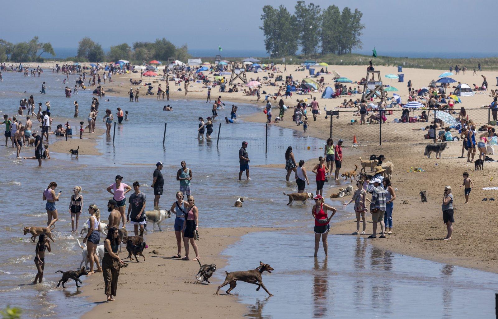 6月11日,在美國伊利諾伊州芝加哥,人們在沙灘休閒。(新華社)
