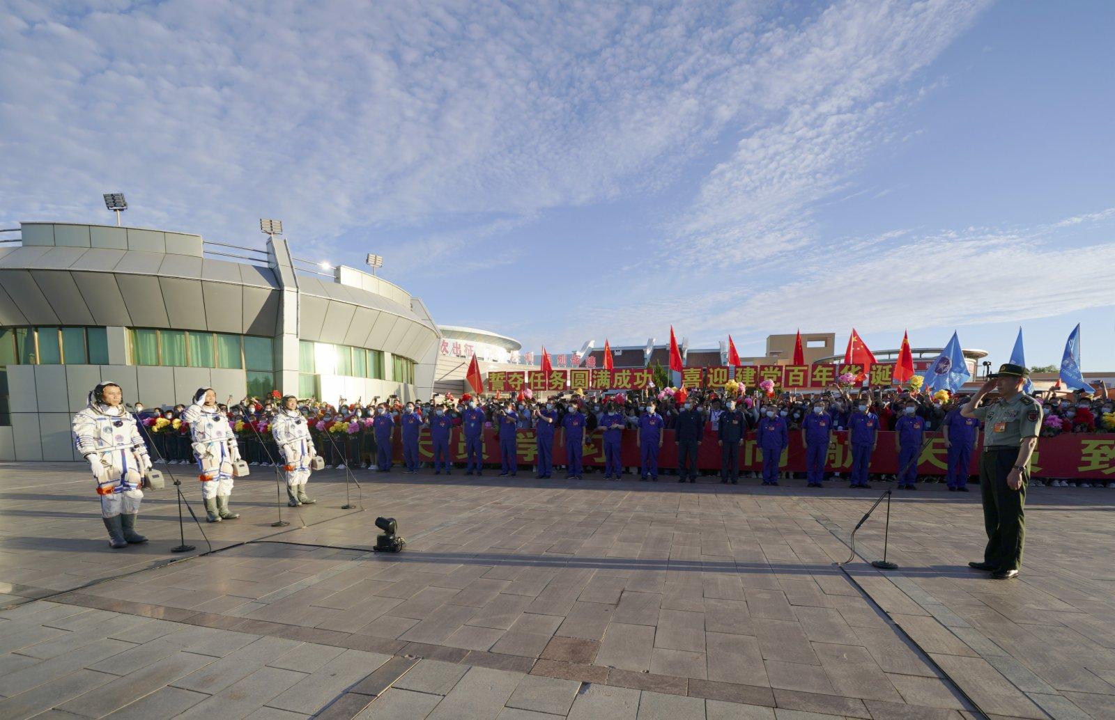 6月17日,神舟十二號航天員出征儀式在酒泉衛星發射中心舉行。新華社