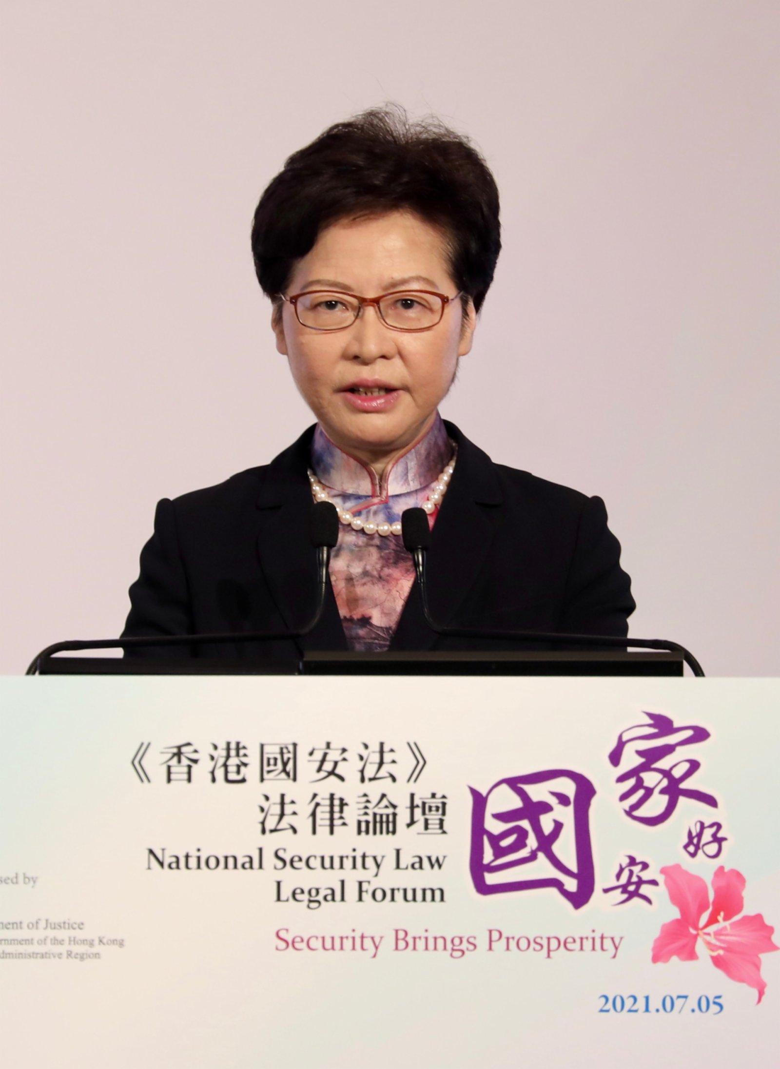 林鄭月娥:國安法實施一年無損港人人權自由