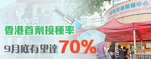 香港首劑接種率9月底有望達70%