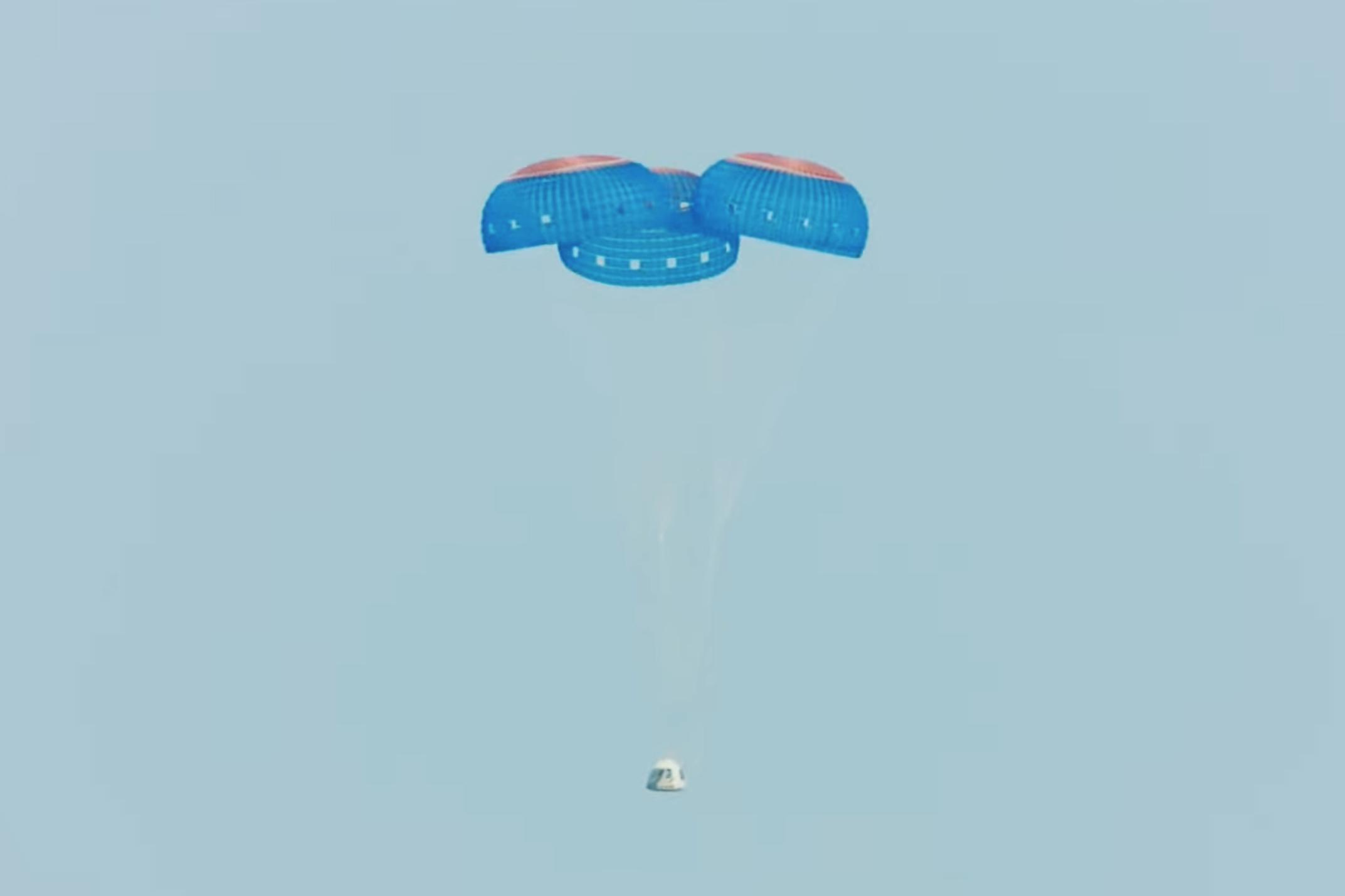 這張美國藍色起源公司7月20日發布的視頻截圖顯示「新謝潑德」飛行器在美國得克薩斯州西部降落。新華社發(藍色起源公司供圖)