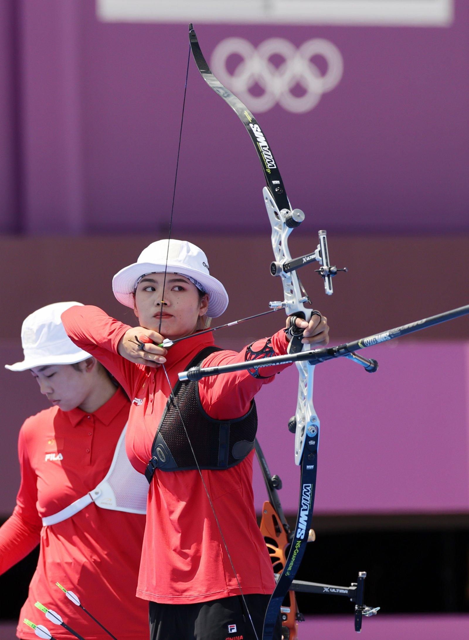 7月25日,中國隊選手龍曉清在比賽中。(新華社)