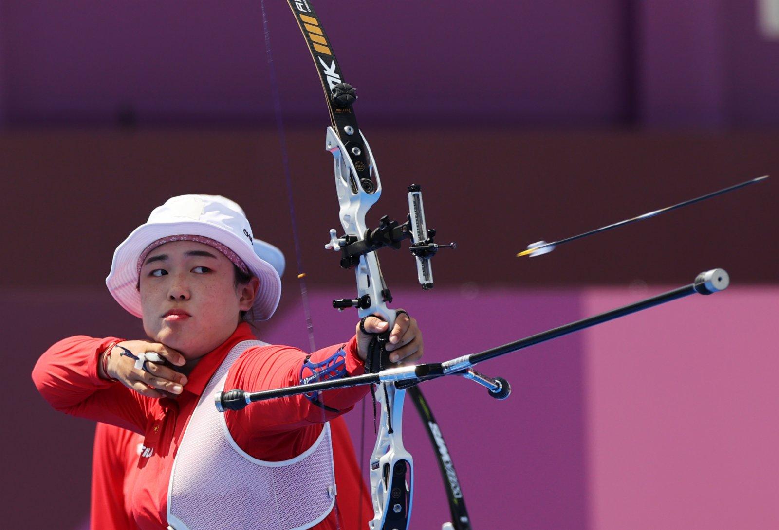 7月25日,中國隊選手吳佳欣在比賽中。(新華社)