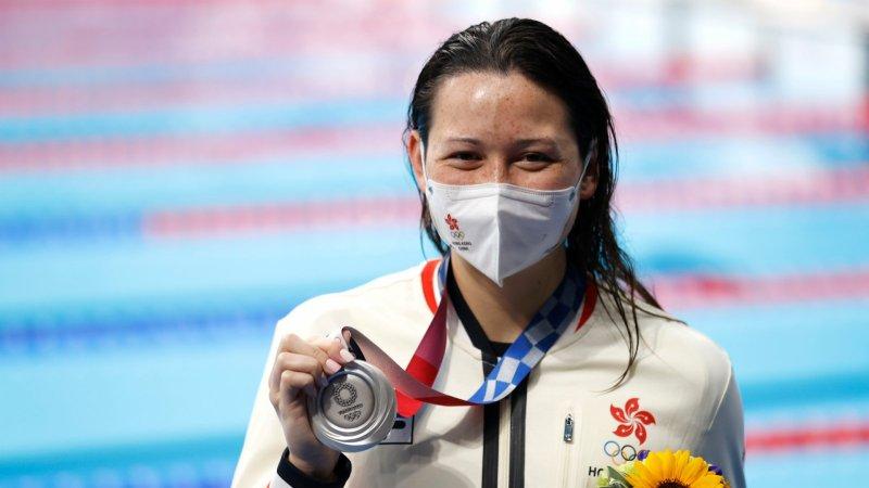 何詩蓓在東奧女子200米自由泳勇奪銀牌