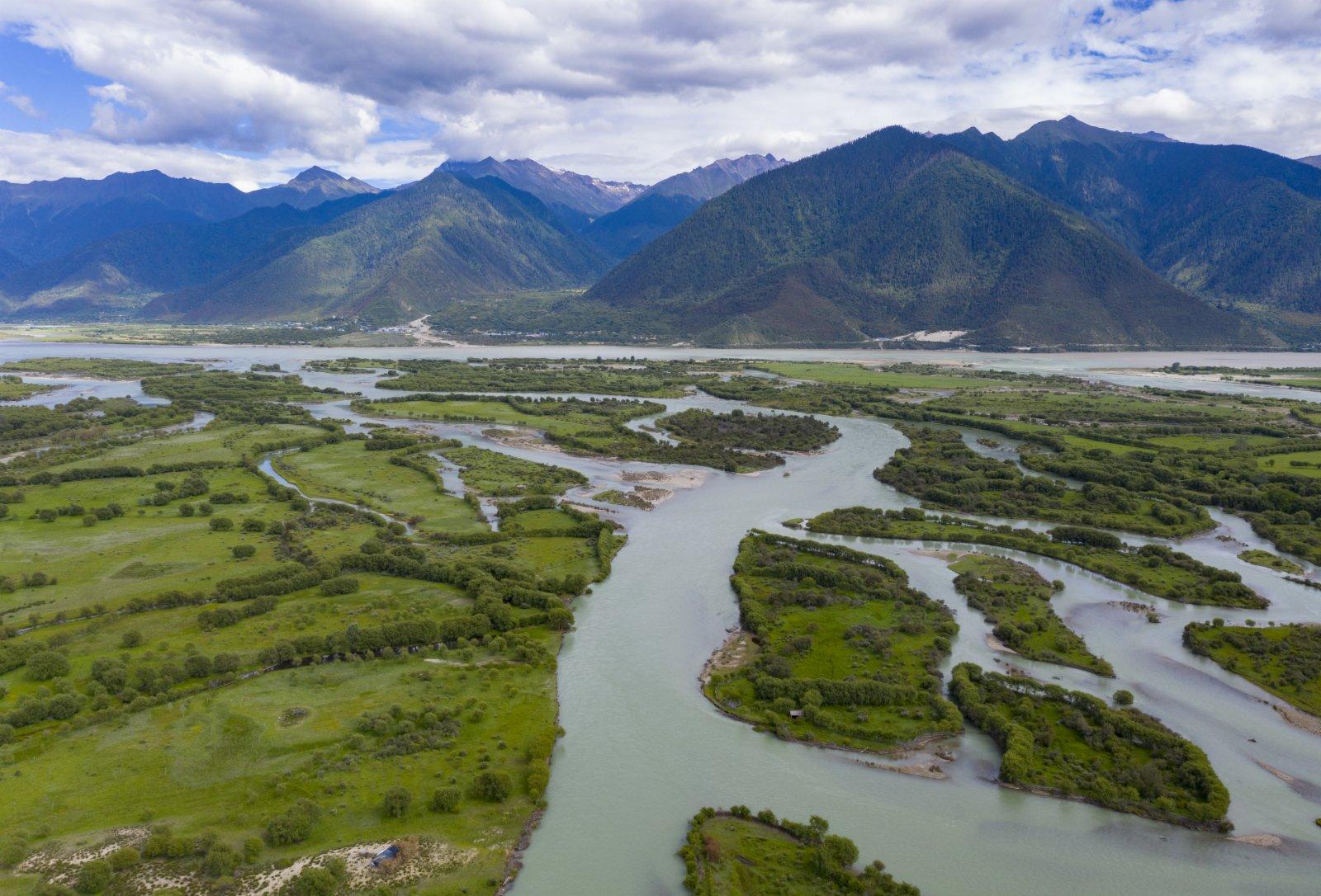 這是7月20日拍攝的雅尼國家濕地公園一角(無人機照片)。(新華社)