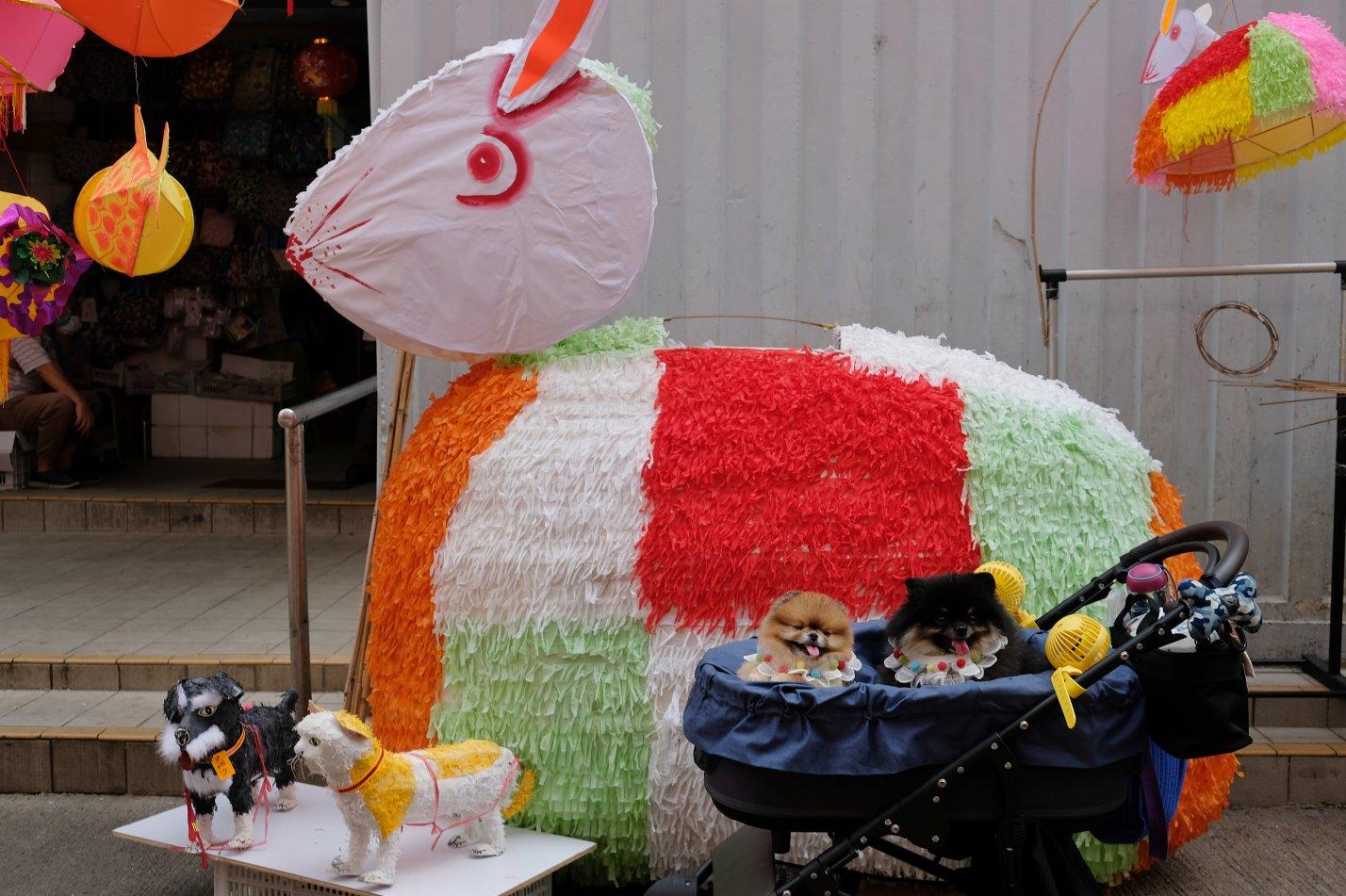 元朗大橋街市的中秋裝飾(大公文匯全媒體記者麥鈞傑攝)